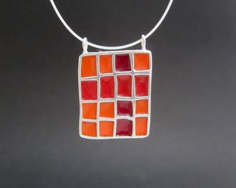 Colorblock Necklace - New Century Modern - Red, Orange, and Yellow Reversible Statement Necklace