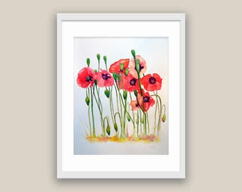 Poppies Watercolor  Paper Floral Art Collectibles Original