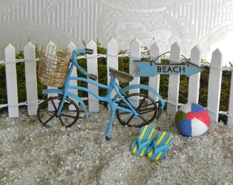 Fairy Garden accessories beach bike bicycle - miniature garden - beach garden - miniature blue bicycle garden miniatures, beach ball