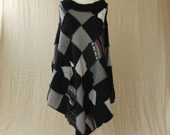 Upcycled Patchwork Poncho. Recycled Wool Knitwear. Bardot Neck Ex Large Plus Size. Black Grey. Handmade UK OOAK Ethical Clothing. Ecofashion