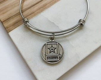 US Army Bangle Bracelet Gift - Military Anniversary Gifts for Her