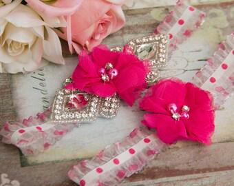 Fuschia Wedding Garter set, Bridal Garter set, Organza Garter, Organza Wedding Garter, Rhinestone Garter Set