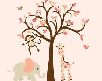Girl Wall Decal, Nursery Wall Decal, Shades of Coral, Jungle Animal Decal, Tree Wall Decal, Nursery Wall Decor, Dreamy Coral Design