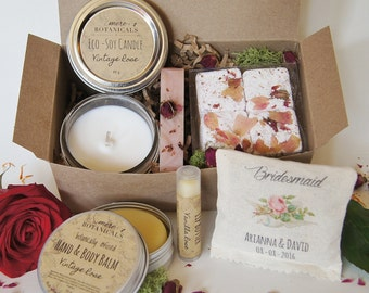 Bridesmaid, Custom Bridal Party Gift Set - Botanically Infused Natural Body Care with Custom Scented Sachet 6 pc. Deluxe Set