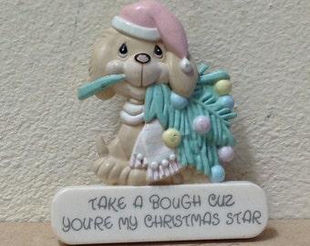 "vintage Enesco dog Christmas PIN 1980's 'Take a Bough Cuz You're my Christmas Star' 1989 Samuel J Butler plastic 1 3/4"""