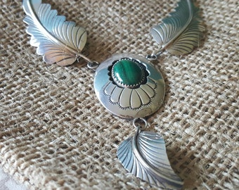 Sterling Silver Feathers Necklace with Malachite Stone (st - 1871)