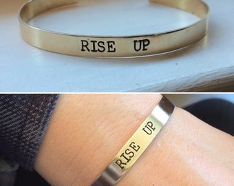 Rise up bracelet cuff, Young scrappy and hungry, quote bracelet, cuff bracelet, hand stamped gold bar, copper cuff, Hamilton