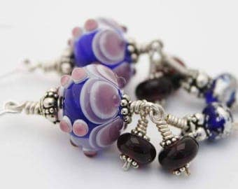 purple and blue earrings lampwork glass beads sterling silver earrings handmade jewelry