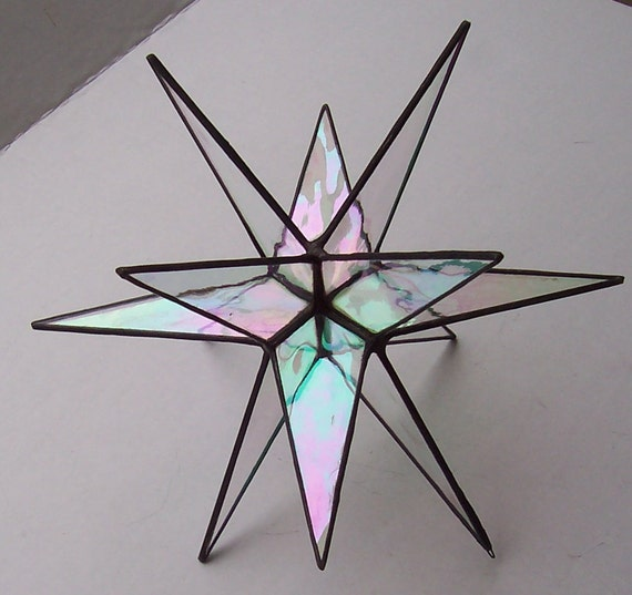Large Stained Glass Star Moravian Star Clear Iridescent
