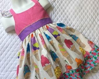 Girls ice cream sweet treats birthday party  halter dress 4T