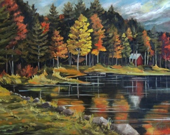 Round Pond in Newbury Vermont Framed Oil Painting
