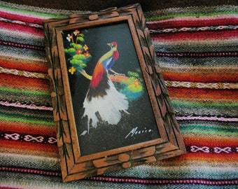 Vintage Southwest Art Made in Mexico Wooden Frame Painted Bird with Feathers Small Wall Art