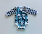 Organic Newborn Baby Kimono Bodysuit / Side-Snap Onesie, 1M, Handmade, Long Sleeve, Cat