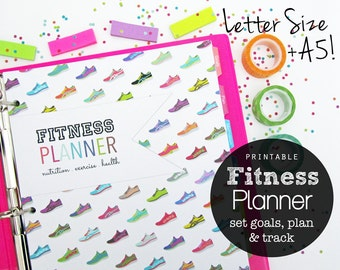 Fitness Planner Printable, A5 and Letter Size Files - INSTANT DOWNLOAD - Weekly Meal Log, Goals, Fitness Log, Weight Loss