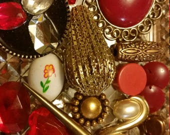 Red and Gold Vintage Beads and Baubles Destash Inspiration Upcycle Mix Lot