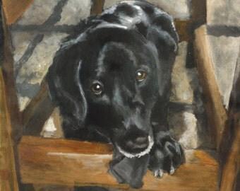 Lunch Bag - Hand Painted 'Jackson' a Black Labrador Retriever on Black Nylon Insulated Lunch Bag