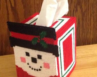 Tissue Box Cover Plastic Canvas Snowman, needlepoint item, Christmas gift, tissue decor, Home Decor, homemade, tissue topper