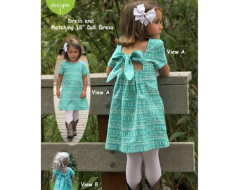 "Pattern ""Gigi Child's Dress and Doll Dress"" by Olive Ann Designs (OAD101) Paper Pattern"