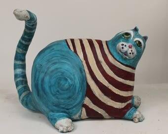 Erving the Fat Cat -Paper Mache Clay Cat Sculpture