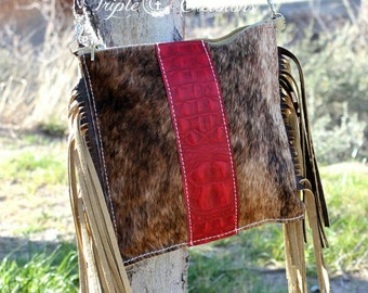 Brindle Cowhide and Red Gator Leather Crossbody Bag with Fringe and Zipper