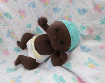 """12"""" Preemie Baby Boy or Girl  Waldorf Inspired cloth handmade Doll Bald Embroidered Eyes stuffed plush ethnic Christmas Easter small toy"""