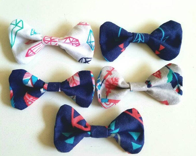 Boho Native Girl Print Hair Bow Bobby Pin Set of 5