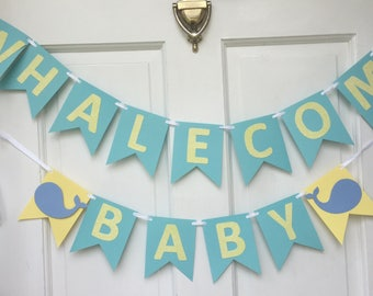 whalecome baby sign with personalization of name CLEARANCE