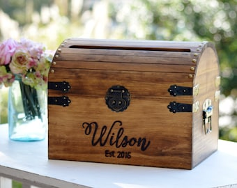 Card Box, Wood Wedding Card Box With Slot, 5th Anniversary Gift ...
