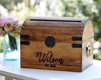 Personalized Wedding Card Box, Wood Wedding Card Box With Slot, 5th Anniversary Gift, Wedding  Memory Chest, Custom Keepsake Trunk
