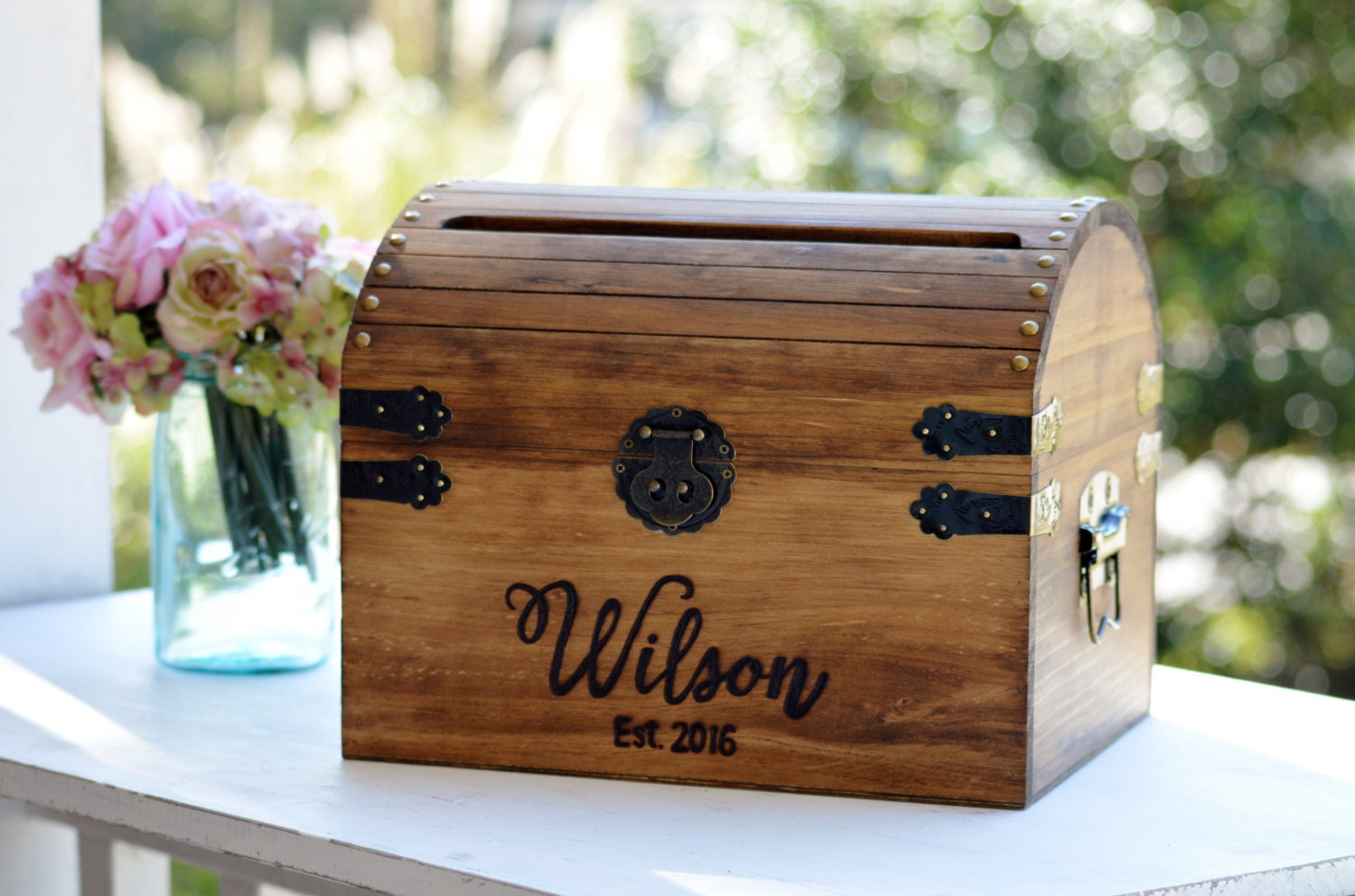 Gift Card Boxes Wedding: Personalized Wedding Card Box Wood Wedding Card Box With