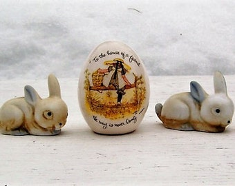 Vintage Holly Hobbie Egg and Bone China Rabbit Figurines Easter Taiwan