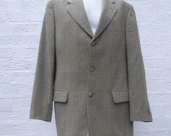 Mens green wool jacket 1980s tailored jacket blazer wool clothing 80s fashion mens gift for him handmade blazer english jacket country tweed