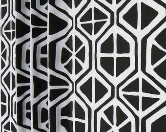 Black and White Shower Curtain // Geometric // Stall// Choose Size // Buttonholes// 72 x 72 // Extra Wide or Narrow