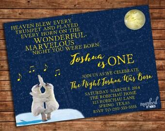 On the Night You Were Born Party Invitation, Printable, Birthday, Baby Shower, Invite, DIY, Polar Bear, Moon