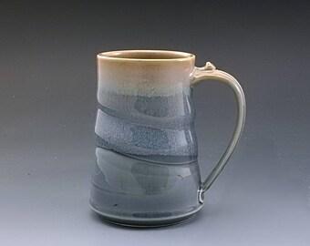 Pottery Mug Handmade Large Light Blue Brown Stoneware by Mark Hudak