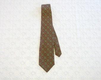 Vintage Festive Red Green Medallions Neiman Marcus Silk Tie