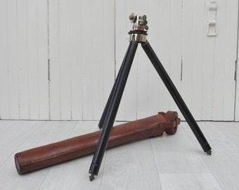 French vintage EDLA tripod camera tripod leather carrying case trépied télescopique avec son étui photo accessory photographers gift