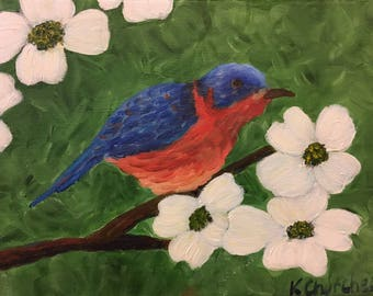 Blue Bird and Dogwoods