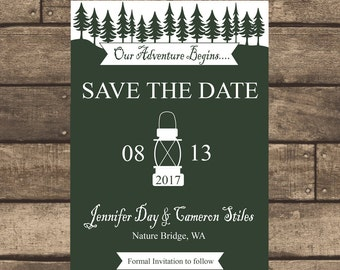 Printable PDF Rustic Lantern Wedding Save the Date ONLY