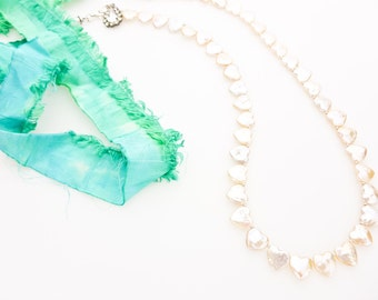 Heart Shaped Biwa Pearl Necklace with Green Sari Silk and Sterling Silver Handmade Swarovski Crystal Box Clasp. Organic Adjustable Necklace