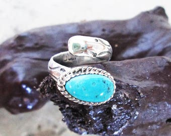 Handmade Silver Ring with Turquoise - Unique Silver Turquoise Ring - Statement Turquoise Ring