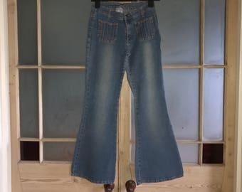 Vintage flared jeans lightweight stretch denim approx UK 10 - 12