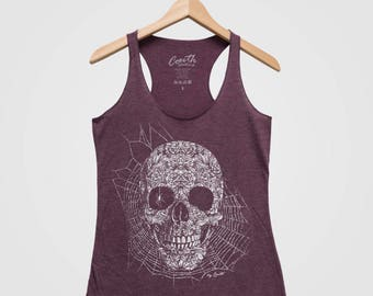 SKULL SPIDER Women Tank Top Triblend Racerback Tank Top Hand Screen Print