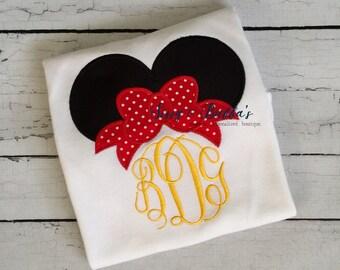 Personalized Minnie Mouse Ears Appliqué Shirt, disney trip, birthday, boy, girl, sibling, minnie, coordinating, initials, mickey, disney