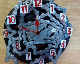 Re-purposed Bicycle Chain Wall Clock - Handcrafted