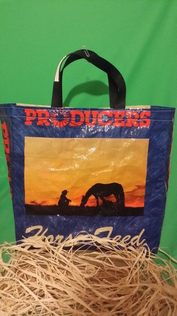 Recycled Feed Bag Tote, reusable tote bag, grocery tote, recycled shopping bag, reusable grocery bag, recycled tote bag Producers Co-Op Blue