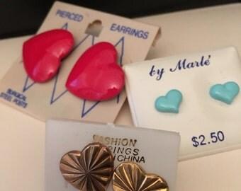 Vintage earrings, heart earrings, vintage jewelry, pierced earrings, hearts