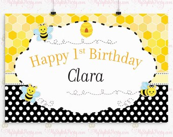 Bumble Bee birthday Vinyl Backdrop or Poster | Bumble Bee Backdrop | Buzzy Bee Vinyl Backdrop | Bumble Bee Backdrop