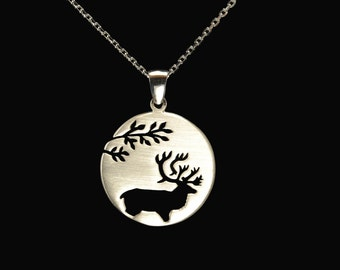 Sterling silver Caribou Pendant
