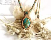 Macrame pendant with Chrysocolla, Simple macrame necklace, Gemini, Taurus, Virgo, Heart Chakra, Throat Chakra